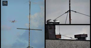 Zardzewiały maszt anteny.